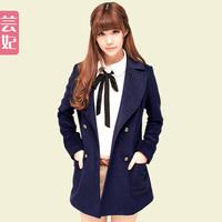 Wool wool coat  female autumn and winter women woolen overcoat large lapel top preppy style
