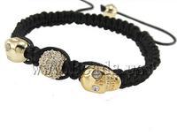 Free shipping!!!Zinc Alloy Shamballa Bracelets,Men Fashion Jewelry, with Wax Cord, with rhinestone, nickel, lead & cadmium free