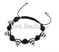 Free shipping!!!Zinc Alloy Shamballa Bracelets,Unique, with rhinestone, 12x13mm, Length:7.5 Inch, Sold Per 7.5 Inch
