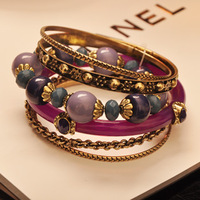 2013 Free  Shiping  Bohemian Dream Purple Beads Multi-layer Bracelet Vintage Mix Match Bracelet