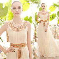 New arrival long 2014 women's summer flower cutout pattern o-neck  into the sex woman chiffon floor-length sleeveless dress