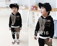 1set Children Leopard Tracksuits cute Kids hoodies+pants Boys and Girls Tracksuits boys sweaters shirts