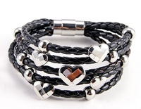 Free shipping!!! min order 15 u.s.d., high-quality Men's Womens  Leather charm titanium Stainless Steel Clasp Bracelet -09