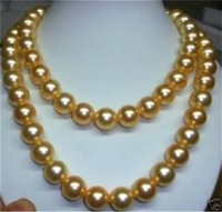 """Cheap Small Article  Natural AAA Beautiful! 10mm gold south sea shell pearl necklace 35"""" AAA  14K GP"""