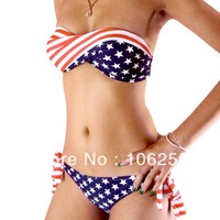 Free Shipping Summer Women Sexy Stars & Stipes Partterns Bikini with Padded Twisted Swimsuits Ladies Swimwear