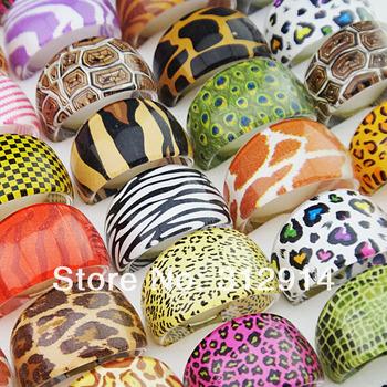 Big Promotion 200pcs Wholesale Jewelry Lots Mix Animal Zebra Leopard Tiger Top Resin Fashion Women Mens Rings A-448