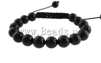Free shipping!!!Crystal Shamballa Bracelets,Jewelry Accessories, with Wax Cord, Round, Jet, 10mm, Length:7.5 Inch