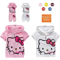 summber Girls hello kitty Suits set baby two-pieces suits cartoon short sleeve hooded shirt +short pants 5set/1lot 90cm-130cm