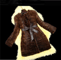 Luxury Genuine Knitted Mink Fur Medium-long Women's Coat Fur Waistcoat Free Shipping