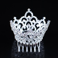 MINI Austrian Rhinestones Tiara Full Crown with Hair Combs Clear Crystal Party Bridal Wedding Accessories Jewelry