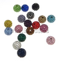 Free shipping!!!Czech Rhinestone Beads,2014 Fashion, Clay, Round, with rhinestone & half-drilled, mixed colors, 8mm