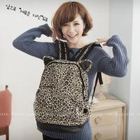New arrival 2013 vintage fashion bag leopard print backpack student school bag laptop bag ears leopard print bag