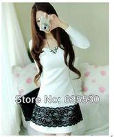 Free Shipping Hot Women's Spring Fashion Long Sleeve Round Neck Lace Cotton White Dress Retail & wholesale