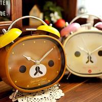 Free Shipping Kawaii Rilakkuma Metal Cartoon Alarm Clock Gift Clock Table Alarm Clock 2 Color Retail