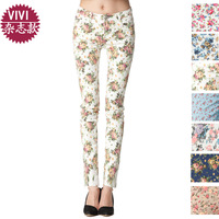 Free Shipping 2013  Spring and summer fashion   Vintage Flower Printing Denim Skinny Pencil Jeans For Women Hot Sale size 26-31