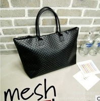 2013 New Handbag Korean PU Version Of Casual Woven Big Bag Commuter Bag Lady Handbag Day Clutches