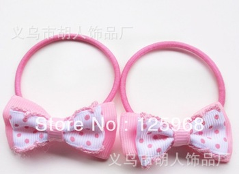 Free Shipping,2013 New MOQ=50pcs Baby Girl Kids Dots Bowknot Tiny Hair Accessary Hair Bands Elastic Ties Ponytail Holder