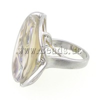 Free shipping!!!Shell Finger Rings,tibetan, with Freshwater Shell & Brass, Flat Round, 22x27mm, Hole:Approx 17mm, Size:7