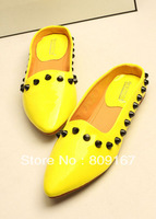 New arrival 2013 slippers fashion sandals candy color japanned leather sandals flat pointed toe shoes