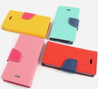 10PC/Lot DHL Free Original Fashion Mercury dual color Korea Style PU Leather case for iphone 5 5G Top Quality 8 colors