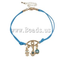 Free shipping!!!Zinc Alloy Bracelet,fashion brand, with Wax Cord & Resin, zinc alloy lobster clasp, gold color plated, nickel