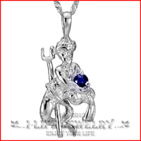 Fashion Jewelry 925 Silver Boy Natural Ruby Sapphire Constellation Aquarius Boyfriend Gift Indian Gold Jewelry Pendant Necklace