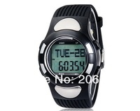 New 1005 Round Dial Digital Display TPU Rubber Watch with Pedometer, Heart Rate Monitor+free shipping