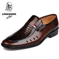 Men's summer breathable men's leather shoes male leather commercial summer cutout shoes male shoes