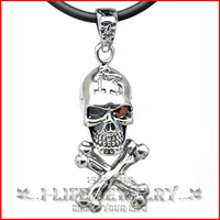 Fashion Jewelry 925 Sterling Silver Men Antique Ruby Skull Eyed Pirate Perfume Bottle Pendant Necklace without Setting