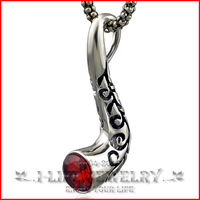 Fashion Jewelry 925 Silver Boy Antique Buby Red Zircon Personalized Cigarette Holders Pendant Necklace without Setting