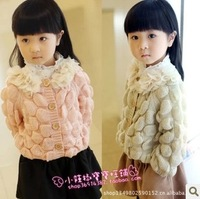 2013 spring and autumn female child knitting petals gentlewomen o-neck sweater cardigan