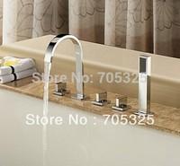 New Bathroom Deck Mounted Bathtub Sink With Shower Mixer Tap Chrome Faucet 5Pcs Set  Z138