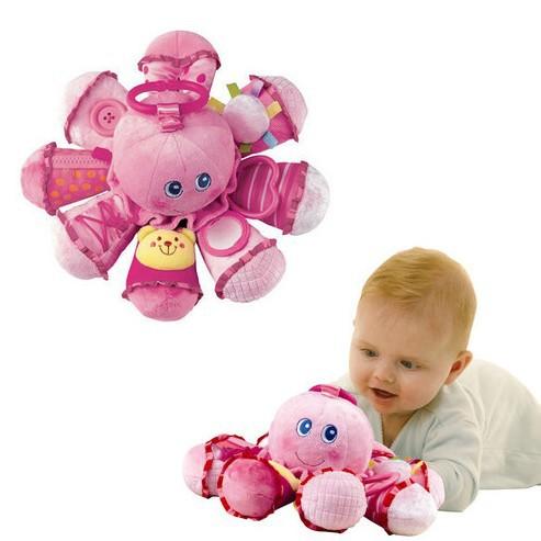 Brinquedos 2014 nouveau bébé jouets d'apprentissage précoce en peluche pieuvre animaux, anneaux hochets pour bébés& mobiles de haute qualité