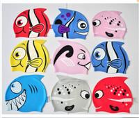 Cartoon child swimming cap fish swimming cap silica gel swimming cap patterers