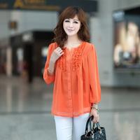 2014 Top Floral O-neck Full Kimono Women Blouse Factory Sell Autumn Women Top Plus Size Clothing Loose Shirt Long-sleeve Female