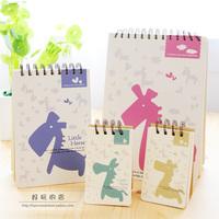 Korea stationery small horse the coil small fresh notebook notepad diary free shipping