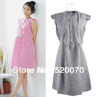 2013 New Casual Maternity Dresses/Ladies Sleeveless Plaid Nursing dress/Women Round Neck pregnant clothing Blue&Pink&Black 15681