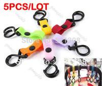 Wholesale 5pcs/lot Plastic Baby Stroller Pram Pushchair Hanger Hanging 2 Hooks Free Shipping