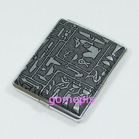 1pc N 18 Cigarette Box Hard Case Metal Holder Egypt Pattern