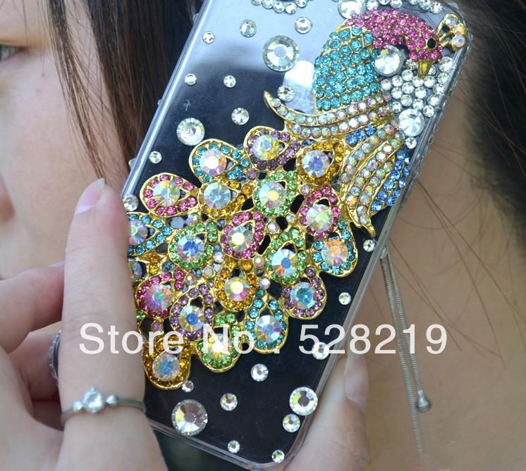 DIY 3D pavão Phoenix Capa Case Diamante Rhinestone Bling para o iPhone 4 4S 4G Transparente Proteção Shell, de poeira livre plug(China (Mainland))