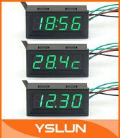 Green LED Digital Gauges Automotive Monitor 12V Car Colck Panel Voltmeter Thermometer 3in1 #090659