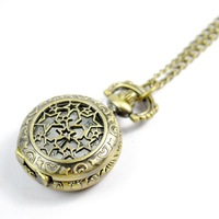 Free Shipping Retro Hollowed-out Bronze Engraved Spiderweb Men Women Electronic Pocket Watch 902660-W-00641