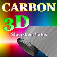 Silver 3D Carbon Fiber Vinyl Decoration Sheet Air Bubble 1.52*30M