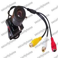 Mini HD 600TVL 1/3 CMOS Security Audio Video 6-15mm Manual lens Color CCTV Camera
