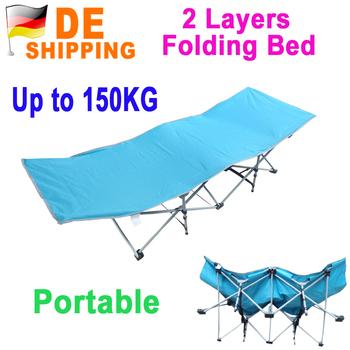 DE Stock To DE Portable Folding 2 Layers Oxford Cloth Lunch Nap Beach Bed + Carry Bag Outdoor Patio Camping Blue DHL Free Ship