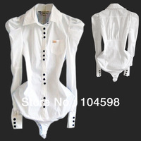 Hot 2014 Autunm Ladies Fashion Wholesale Long Puff Sleeve Slim Bodysuit Shirt Women The White & Blue Blouses Body QLT22 S-XL