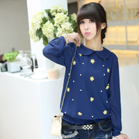 Sweet beaded flower long-sleeve slim waist peter pan collar chiffon shirt female shirt