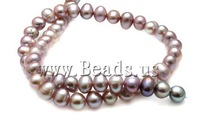 Free shipping!!!Potato Cultured Freshwater Pearl Beads,Love, natural, purple, A, 8-9mm, Hole:Approx 0.8mm, Length:15.5 Inch