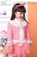 Retail 2015 new girls autumn 3pcs sets of Korean version small jacket + lace shirt + tutu skirt  A58 high quality Free Shipping