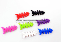 Free  Shipping 50Pcs/lot Silicone Rubber Fish Bone Earphone Cord Cable Winder